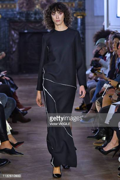 A model walks the runway during the Guy Laroche Ready to Wear Fall/Winter 20192020 fashion show as part of the Paris Fashion Week Womenswear...