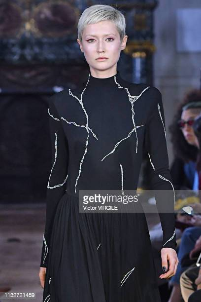 Model walks the runway during the Guy Laroche Ready to Wear Fall/Winter 2019-2020 fashion show as part of the Paris Fashion Week Womenswear...