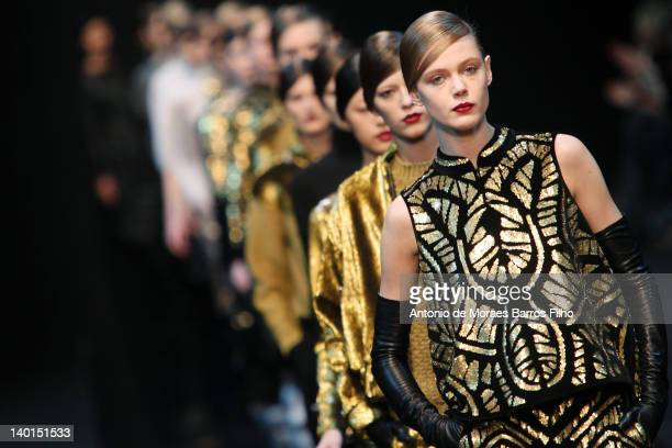 A model walks the runway during the Guy Laroche ReadyToWear Fall/Winter 2012 show as part of Paris Fashion Week at Espace Ephemere Tuileries on...