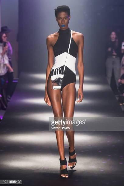 A model walks the runway during the Guy Laroche show as part of the Paris Fashion Week Womenswear Spring/Summer 2019 on September 26 2018 in Paris...