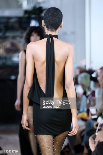 A model walks the runway during the Guy Laroche show as part of the Paris Fashion Week Womenswear Fall/Winter 2019/2020 on February 27 2019 in Paris...