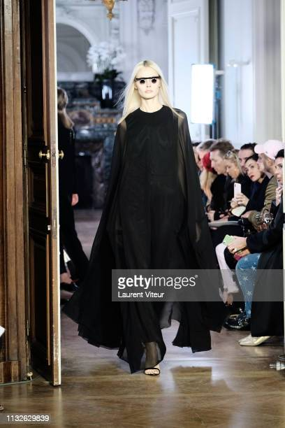 Model walks the runway during the Guy Laroche show as part of the Paris Fashion Week Womenswear Fall/Winter 2019/2020 on February 27, 2019 in Paris,...
