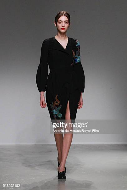 A model walks the runway during the Guy Laroche show as part of the Paris Fashion Week Womenswear Fall/Winter 2016/2017 on March 2 2016 in Paris...