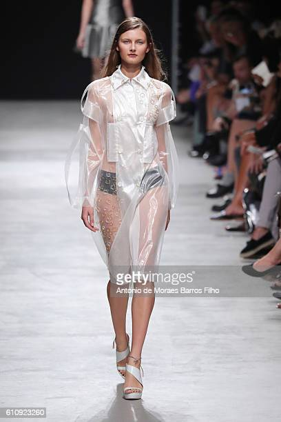 A model walks the runway during the Guy Laroche show as part of the Paris Fashion Week Womenswear Spring/Summer 2017 on September 28 2016 in Paris...