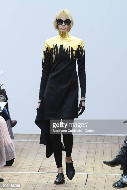 A model walks the runway during the Guy Laroche show as part of the Paris Fashion Week Womenswear Fall/Winter 2018/2019 on February 28 2018 in Paris...
