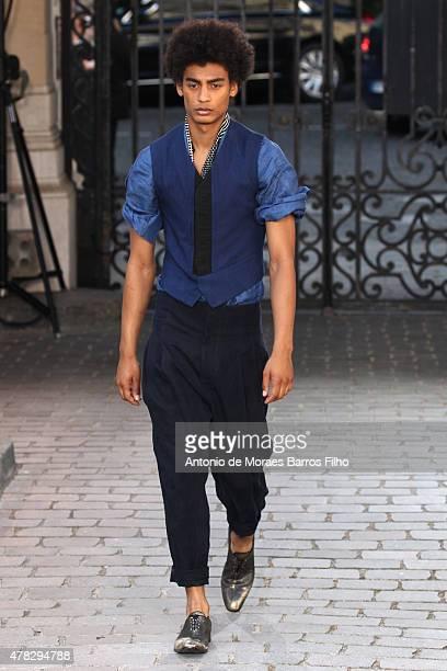 A model walks the runway during the Haider Ackermann Menswear Spring/Summer 2016 show as part of Paris Fashion Week on June 24 2015 in Paris France