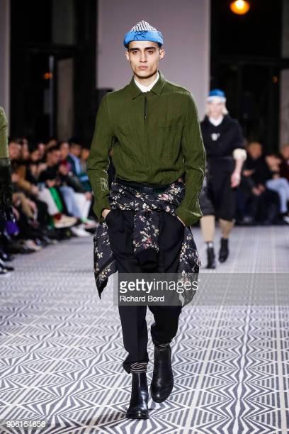 A model walks the runway during the Haider Ackermann Menswear Fall/Winter 20182019 show as part of Paris Fashion Week on January 17 2018 in Paris...