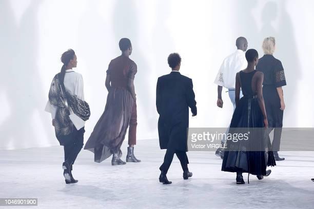 Model walks the runway during the Haider Ackermann Ready to Wear fashion show as part of Paris Fashion Week Womenswear Spring/Summer 2019 on...