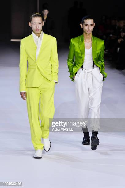 Model walks the runway during the Haider Ackermann Ready to Wear fashion show as part of the Paris Fashion Week Womenswear Fall/Winter 2020-2021 on...