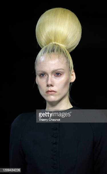 Model walks the runway during the Haider Ackermann show as part of the Paris Fashion Week Womenswear Fall/Winter 2020/2021 on February 29, 2020 in...