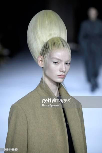 Model walks the runway during the Haider Ackermann show as part of Paris Fashion Week Womenswear Fall/Winter 2020/2021 on February 29, 2020 in Paris,...