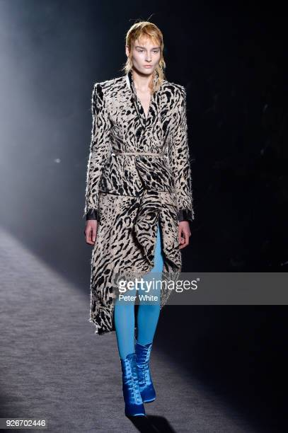 A model walks the runway during the Haider Ackermann show as part of the Paris Fashion Week Womenswear Fall/Winter 2018/2019 on March 3 2018 in Paris...