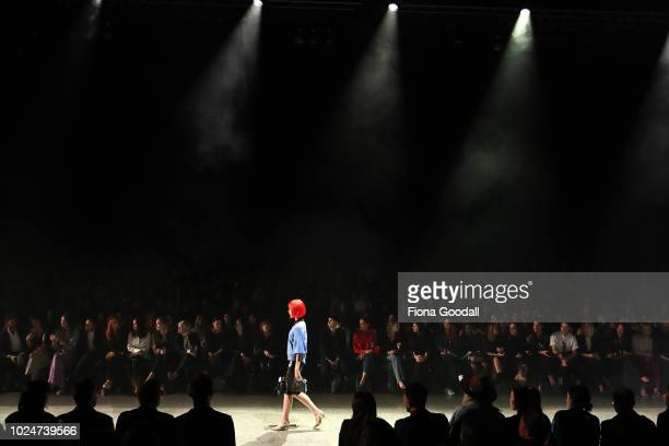 A model walks the runway during the Hailwood show during New Zealand Fashion Week 2018 at Viaduct Events Centreâ on August 28 2018 in Auckland New...