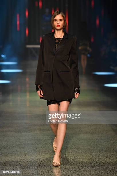A model walks the runway during the Hailwood show during New Zealand Fashion Week 2018 at Viaduct Events Centre on August 28 2018 in Auckland New...