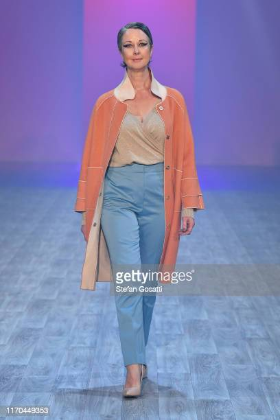A model walks the runway during the Hailwood show during New Zealand Fashion Week 2019 at Auckland Town Hall on August 27 2019 in Auckland New Zealand