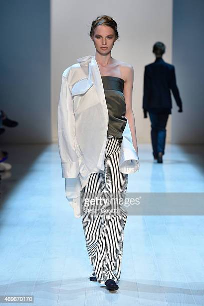 A model walks the runway during the Han show at MercedesBenz Fashion Week Australia 2015 at Carriageworks on April 14 2015 in Sydney Australia