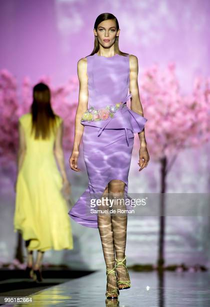 A model walks the runway during the Hannibal Laguna show at Mercedes Benz Fashion Week Madrid Spring/Summer 2019 on July 10 2018 in Madrid Spain