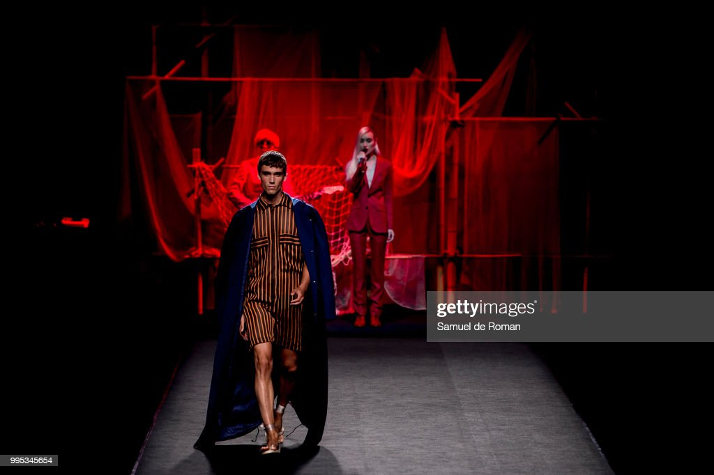 A model walks the runway during the Hannibal Laguna show at Mercedes Benz Fashion Week Madrid Spring/Summer 2019 on July 10, 2018 in Madrid, Spain.