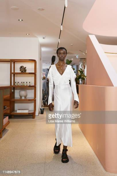Model walks the runway during the Hansen & Gretel show at Mercedes-Benz Fashion Week Resort 20 Collections at Jardan on May 14, 2019 in Sydney,...