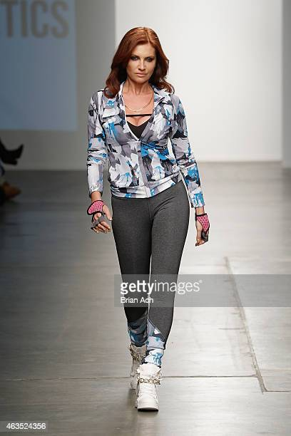 Model walks the runway during the Haute Athletics show at the Nolcha Fashion Week New York Fall Winter Collections 2015/2016 during NY Fashion Week...