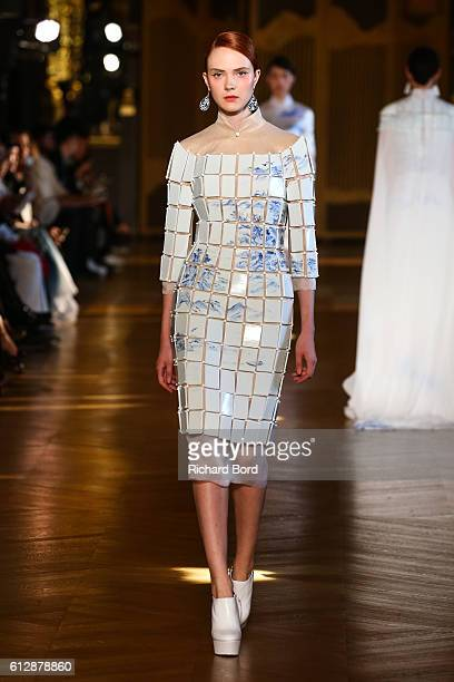 A model walks the runway during the Heaven Gaia show as part of the Paris Fashion Week Womenswear Spring/Summer 2017 at Opera Garnier on October 5...