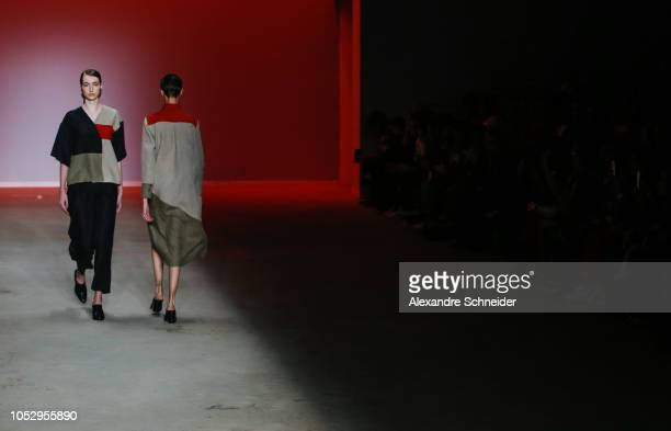 A model walks the runway during the Helena Pontes part of the Estufa project fashion show during Sao Paulo Fashion Week N46 Winter 2019 at Arca on...