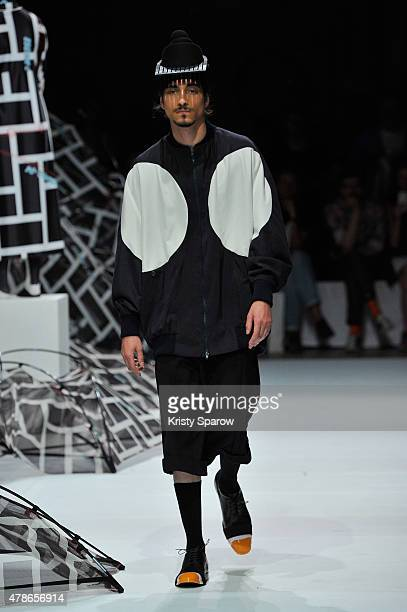 A model walks the runway during the Henrik Vibskov Menswear Spring/Summer 2016 show as part of Paris Fashion Week on June 26 2015 in Paris France