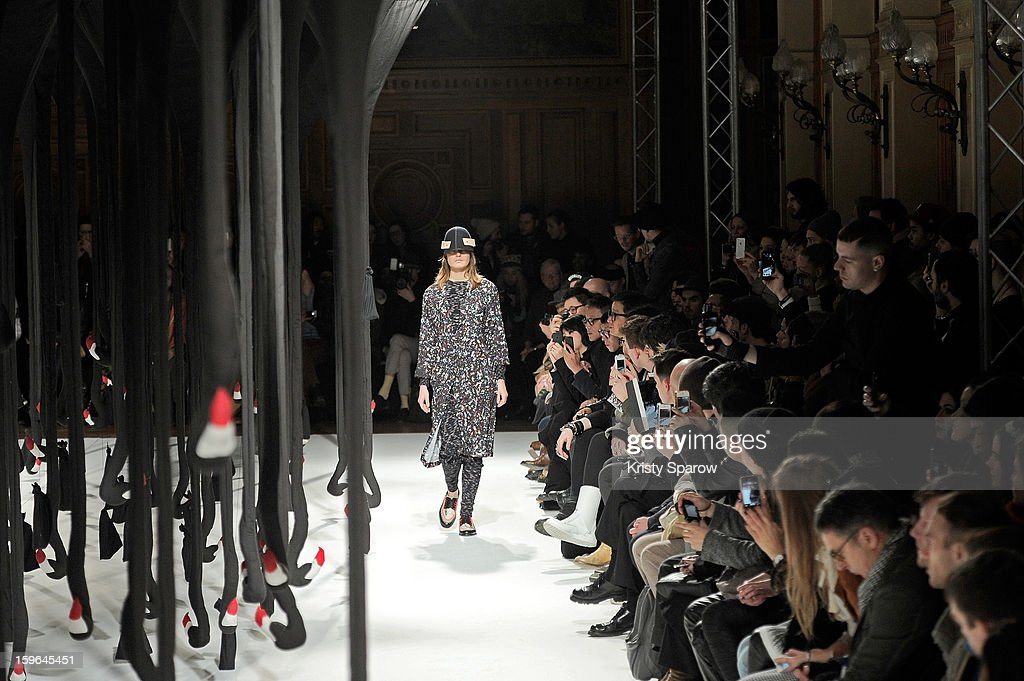 A model walks the runway during the Henrik Vibskov Menswear Autumn / Winter 2013/14 show as part of Paris Fashion Week on January 17, 2013 in Paris, France.
