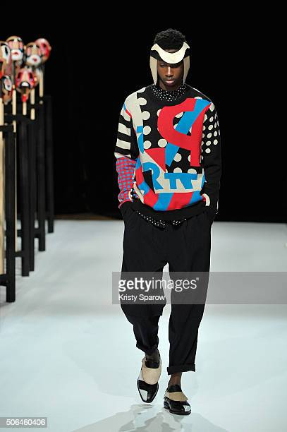 A model walks the runway during the Henrik Vibskov Menswear Fall/Winter 20162017 show as part of Paris Fashion Week on January 23 2016 in Paris France