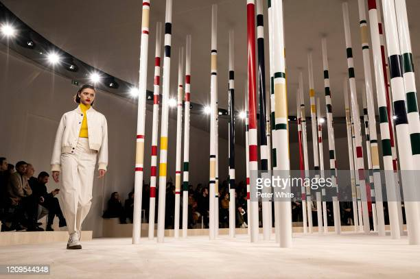 Model walks the runway during the Hermes as part of the Paris Fashion Week Womenswear Fall/Winter 2020/2021 on February 29, 2020 in Paris, France.