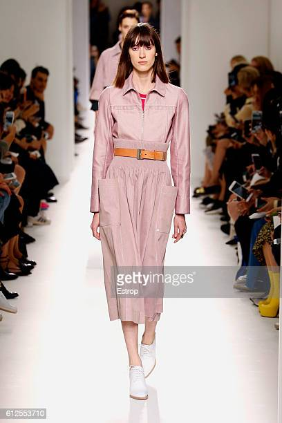 Model walks the runway during the Hermes designed by Nadège Vanhee-Cybulski show as part of the Paris Fashion Week Womenswear Spring/Summer 2017 on...