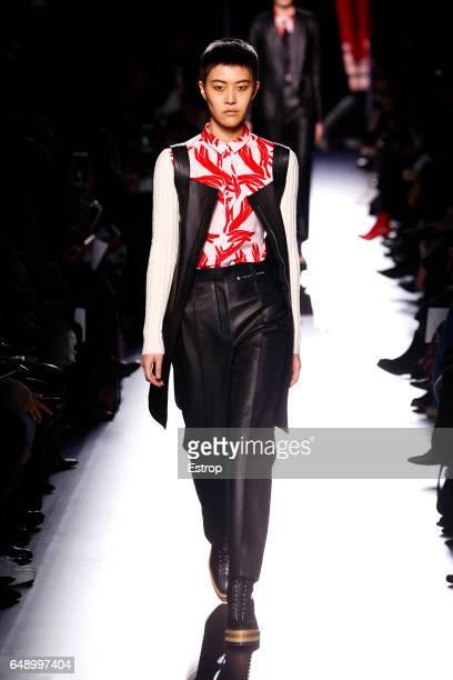 Model walks the runway during the Hermes designed by Nadège Vanhee-Cybulski show as part of the Paris Fashion Week Womenswear Fall/Winter 2017/2018...