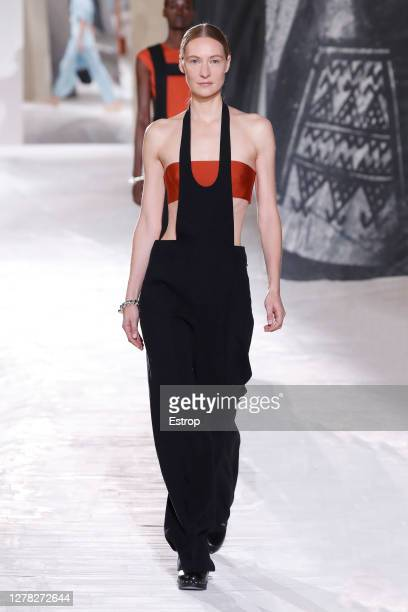 Model walks the runway during the Hermes fashion show during Paris Women's Fashion Week Spring/Summer 2021 on October 3, 2020 in Paris, France.
