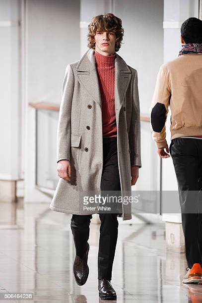 A model walks the runway during the Hermes Menswear Fall/Winter 20162017 show as part of Paris Fashion Week on January 23 2016 in Paris France
