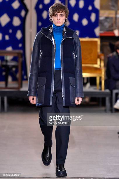 Model walks the runway during the Hermes Menswear Fall/Winter 2019-2020 show as part of Paris Fashion Week on January 19, 2019 in Paris, France.