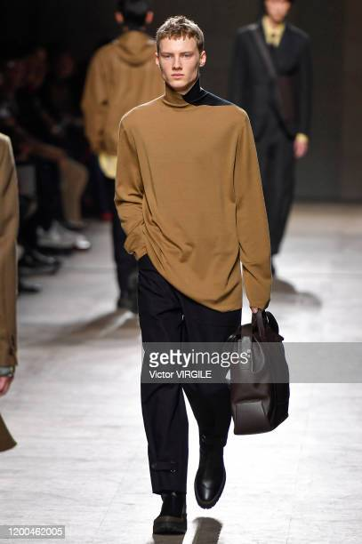Model walks the runway during the Hermes Menswear Fall/Winter 2020-2021 fashion show as part of Paris Fashion Week on January 18, 2020 in Paris,...