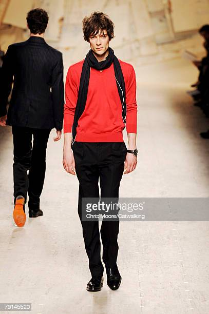 Model walks the runway during the Hermes Menswear fashion show part of Paris Fashion Week Fall/Winter 2008/2009 on the 19th of January 2008 in...
