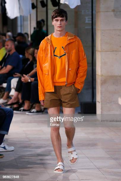 A model walks the runway during the Hermes Menswear Spring/Summer 2019 show as part of Paris Fashion Week on June 23 2018 in Paris France