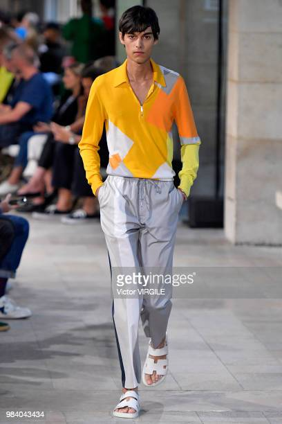 Model walks the runway during the Hermes Menswear Spring/Summer 2019 fashion show as part of Paris Fashion Week on June 23, 2018 in Paris, France.