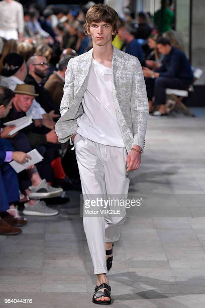 A model walks the runway during the Hermes Menswear Spring/Summer 2019 fashion show as part of Paris Fashion Week on June 23 2018 in Paris France