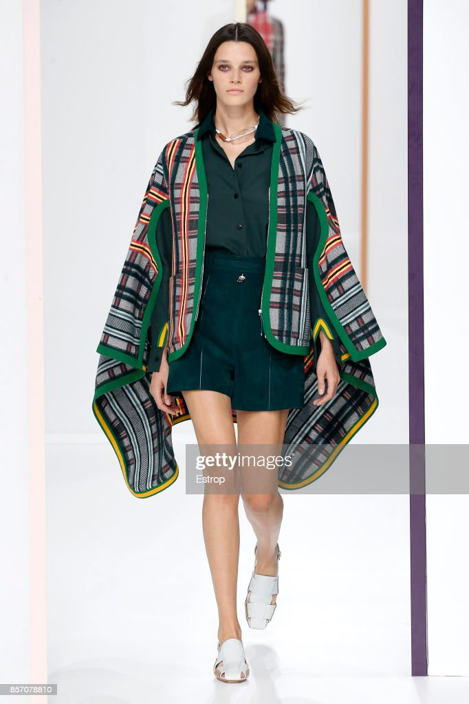 A model walks the runway during the Hermes Paris show as part of the Paris Fashion Week Womenswear Spring/Summer 2018 on October 2, 2017 in Paris, France.