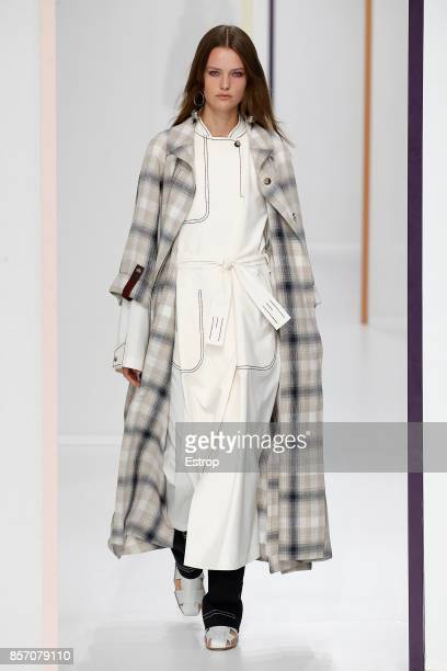 A model walks the runway during the Hermes Paris show as part of the Paris Fashion Week Womenswear Spring/Summer 2018 on October 2 2017 in Paris...