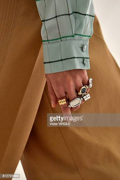 A model walks the runway during the Hermes Ready to Wear fashion show as part of the Paris Fashion Week Womenswear Spring/Summer 2017 on October 3...