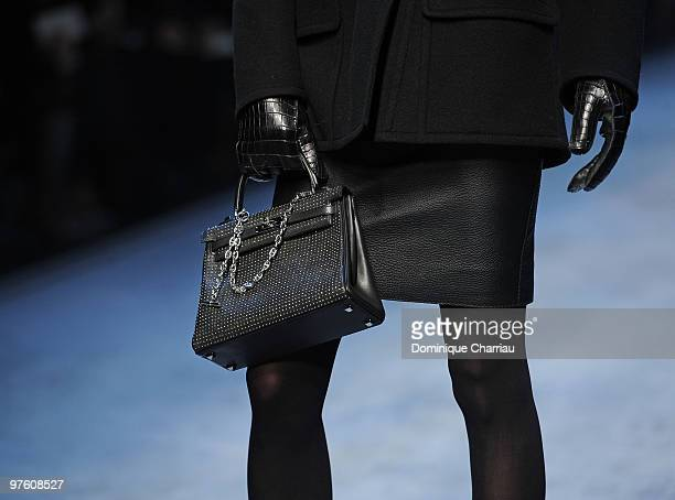 A model walks the runway during the Hermes Ready to Wear show as part of the Paris Womenswear Fashion Week Fall/Winter 2011 at Halle Freyssinet on...