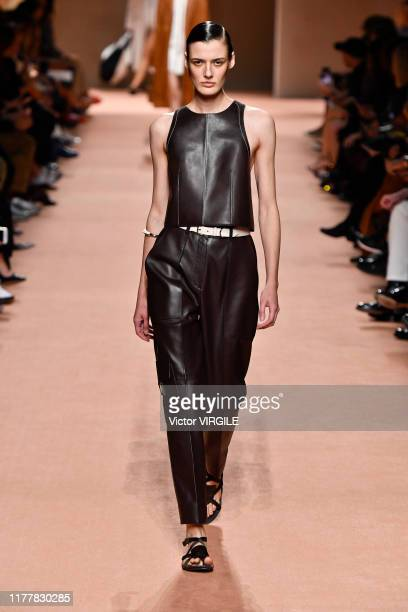 Model walks the runway during the Hermes Ready to Wear Spring/Summer 2020 fashion show as part of Paris Fashion Week on September 28, 2019 in Paris,...