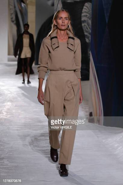 Model walks the runway during the Hermes Ready to Wear Spring/Summer 2021 fashion show as part of Paris Fashion Week on October 03, 2020 in Paris,...