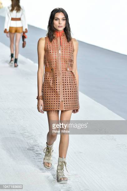 A model walks the runway during the Hermes show as part of the Paris Fashion Week Womenswear Spring/Summer 2019 on September 29 2018 in Paris France