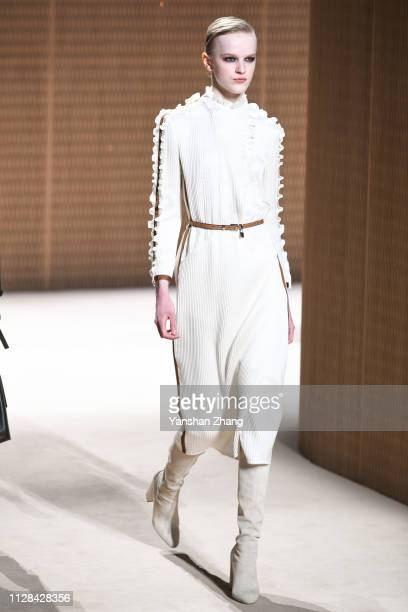 A model walks the runway during the Hermes show as part of the Paris Fashion Week Womenswear Fall/Winter 2019/2020 on March 2 2019 in Paris France