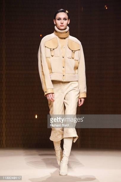 Model walks the runway during the Hermes show as part of the Paris Fashion Week Womenswear Fall/Winter 2019/2020 on March 02, 2019 in Paris, France.