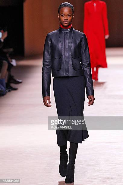 A model walks the runway during the Hermes show as part of the Paris Fashion Week Womenswear Fall/Winter 2015/2016 on March 9 2015 in Paris France